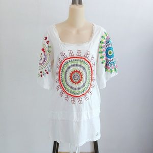 Desigual Beaded Sequins Tunic Boho Top Medium